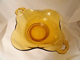 Amber Crows Foot Handled Vegetable Bowl Elegant Depression Glass - $39.99