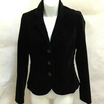 J Crew Sz 0 Blazer Jacket Black Pinstripe Velvet - $21.55