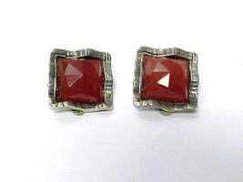 Carnelian Clip-on Earrings In Sterling Silver - Vitage - $40.00