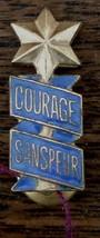 Nice Vintage Gold Tone Enameled Courage Sanspeur Lapel Pin, VG COND - $7.91