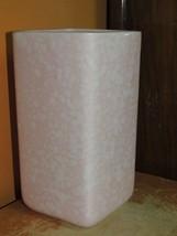 """Art Pottery 6.5"""" Vase Mid Century pink & white square splatter american ... - $24.99"""