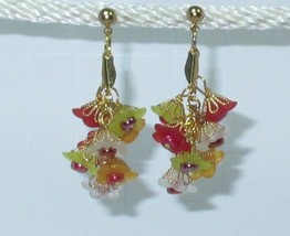 Flower Cluster Red Yellow Pink Flowers Earrings Steel Hooks HC - $9.91