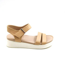 Franco Sarto Womans Essie Wedge Ankle Strap Sandal Beige Leather Sz 7 M - $34.64