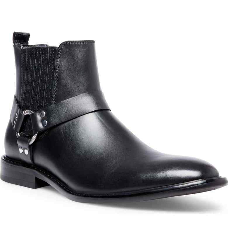 Primary image for Men Black Monks Buckle Pointed Toe Premium Quality High Ankle Leather Boots