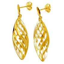 """18K YELLOW GOLD PENDANT EARRINGS WORKED WAVY DOUBLE OVAL LEAF 4.5cm, 1.8"""" image 1"""