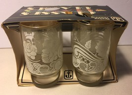 **VINTAGE** Anchor Hocking Juice Glasses .... Gold Rim With Retro Design - $19.99