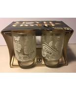 **VINTAGE** Anchor Hocking Juice Glasses .... Gold Rim With Retro Design - $19.99
