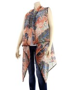 Paisley Print Light Vest Top Fashion Scarf Drape Cape One Size Fits All NWT - $16.99