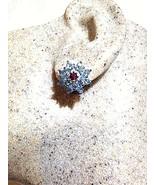 Genuine Blue Topaz Real Amethyst Deco Stud 925 Sterling Silver Vintage E... - $51.47