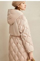 Women's European Brand Designer Thick Hooded Solid Quilted Down Winter Coat image 5