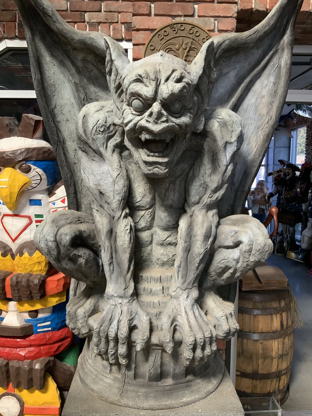 Gargoyle On Stand Life Size Statue - Sculptures & Figurines