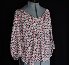 ANNE CARSON Blouse M Rayon Draw String 3/4 Sleeve - $19.95
