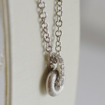 18K WHITE GOLD NANIS NECKLACE WITH DIAMOND 0.06 CT, ROLO CHAIN MADE IN ITALY  image 2