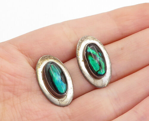 Primary image for 925 Sterling Silver  - Vintage Minimalist Abalone Shell Drop Earrings - E9262