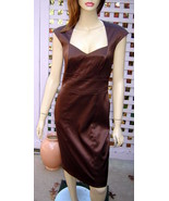 SANGRIA Satiny Chocolate Brown Empire Waist Stretch Cocktail Dress (4) - $58.70
