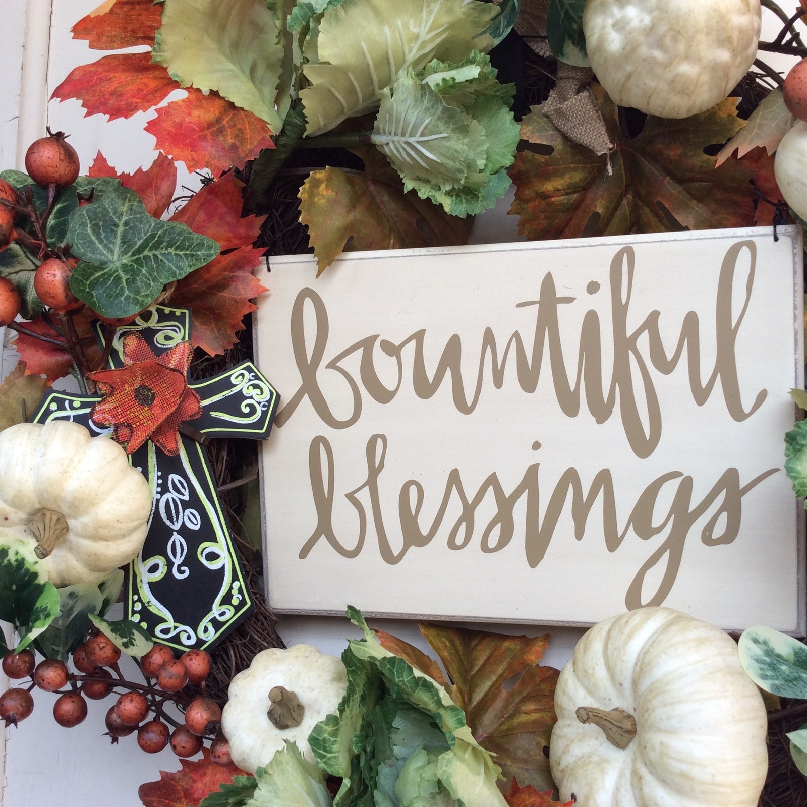 Primary image for AG Designs Fall Harvest Decor - Floral Wreath - Bountiful Blessings