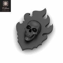Flaming Skull Lapel Pin Sterling Silver Fire Skull Brooch Skull Gothic J... - $99.99+