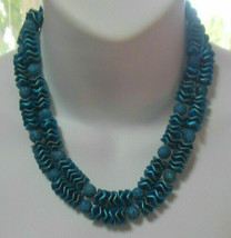Vintage Signed Japan Double Strand Blue Bead Necklace - $35.00