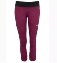 Nike Epic Run Capri XS Rosa Scuro Rosso Tagliati Pantaloni Legging - $30.58
