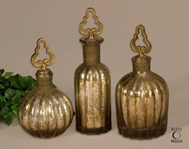 THREE VINTAGE FRENCH AGED GLASS DECORATIVE PERFUME BOTTLES BRASS WIRE DE... - $151.80