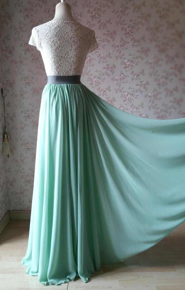 Sage green chiffon maxi skirt 8 780