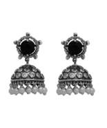 925 Sterling Silver Black Spinel,Pearl,White Cz Women Stud Jhumka Earring - $51.89