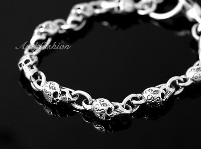 Mens Sterling Silver Bracelet Solid Skull Chain Hip Hop Biker Beach wear b12 image 2
