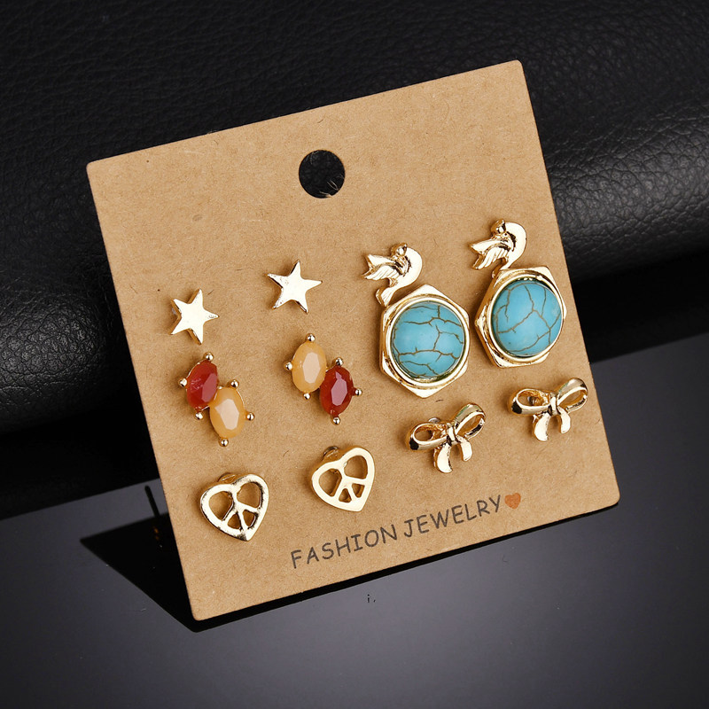 BAHYHAQ -  6 Pairs Earrings Set Gold Color Alloy Small Stud Earrings