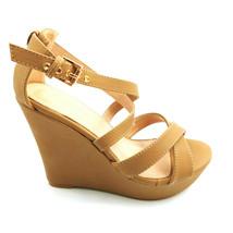 Top Moda Womans Beyond 1 High Heel Platform Wedge Sandal Tan Strappy Sz ... - $20.77