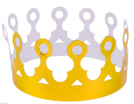 Lot of 12 Foil Gold Crowns (party hats for king prince queen princess th... - €9,53 EUR