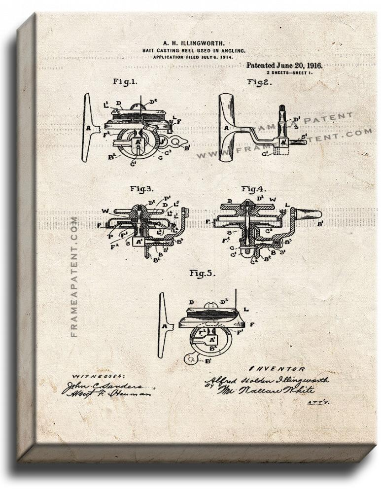 Primary image for Bait-casting Reel Used In Angling Patent Print Old Look on Canvas