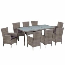 vidaXL Outdoor Dining Set 17 Pieces Poly Rattan Wicker Garden Patio Furn... - $606.99