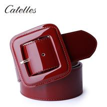 Catelles Wide Women's Belt Red Female Genuine leather Belt For Women Des... - ₹2,727.18 INR
