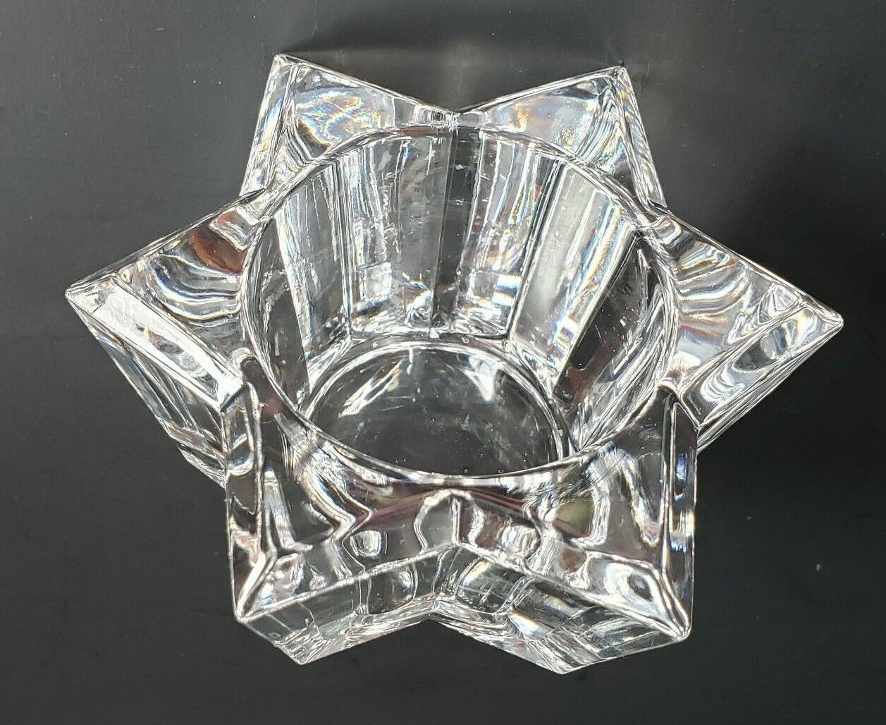 Star Bright Candle Holder 24 % Lead Crystal Glass Patriotic Xmas P0469 Partylite