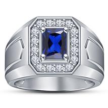 White Gold Plated 925 Silver Emerald Cut Blue Sapphire Men's Wedding Ban... - $93.88