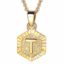 FOCALOOK T Initial Necklace Tiny Alphabet Charm 18K Gold Plated Letter M... - $10.47