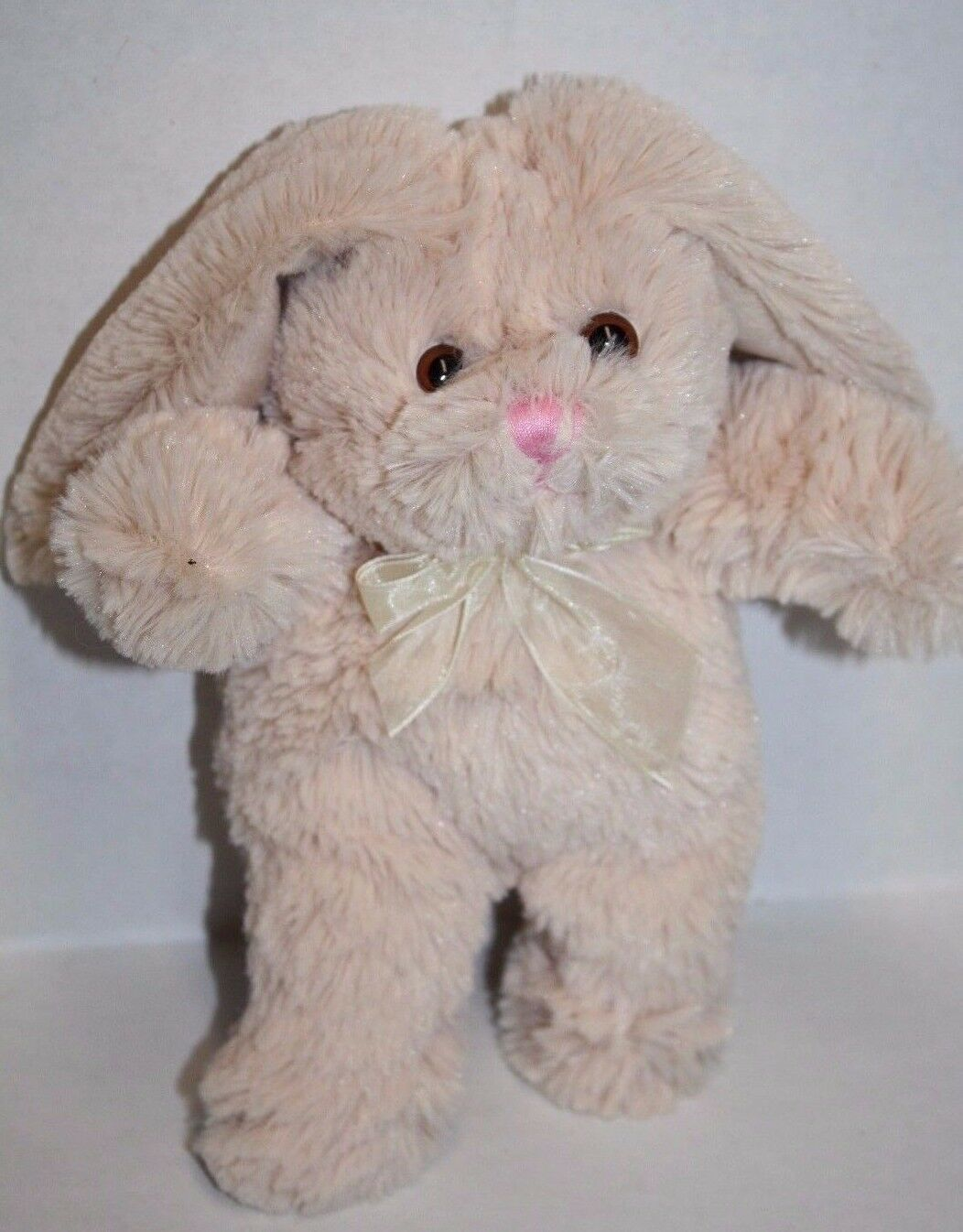 "Primary image for Animal Adventure BEIGE Plush EASTER BUNNY RABBIT 9"" White Tail Soft Toy Bow 2016"