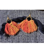 Big Tribal tassel earrings from red yellow cotton threads, Handmade jewelry - $15.99