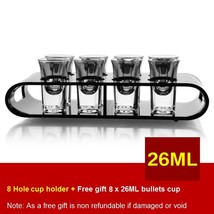 Black U-Shaped Tray Bar Club Small Bullets Cup Holder 8 Holes + Gift 26ml Glass - $47.48