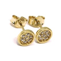 18K ROSE GOLD MINI BUTTON EARRINGS WITH CUBIC ZIRCONIA, DISC FLOWER, 6 MM image 2