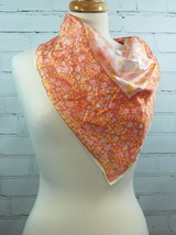 "Vera Neumann Lightweight 25"" Square Scarf - Peach/Yellow/Pink Small Flor... - $24.26"
