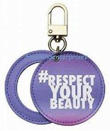 Purple Peace Messaging Mirror Bag Charm Keychain Goldtone ~NEW in Package - $6.88