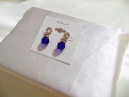 """Aqua  7/8"""" Gold Tone Cubic Zirconia Blue Drop Earrings L621 $24 - $8.76"""