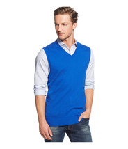 Club Room Men's Cargo Blue Cotton Sleeveless V-Neck Vest Knit Sweater - £19.17 GBP