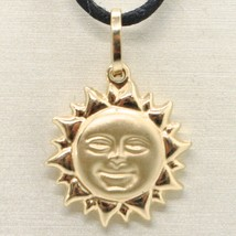 18K YELLOW GOLD ROUNDED SUN CHARM PENDANT, TWO FACES, SMOOTH SATIN MADE ... - $159.60