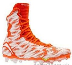 Under Armour Highlight MC Football Cleats White/Or Men Size 15 NWT FREE SOCKS - $33.28