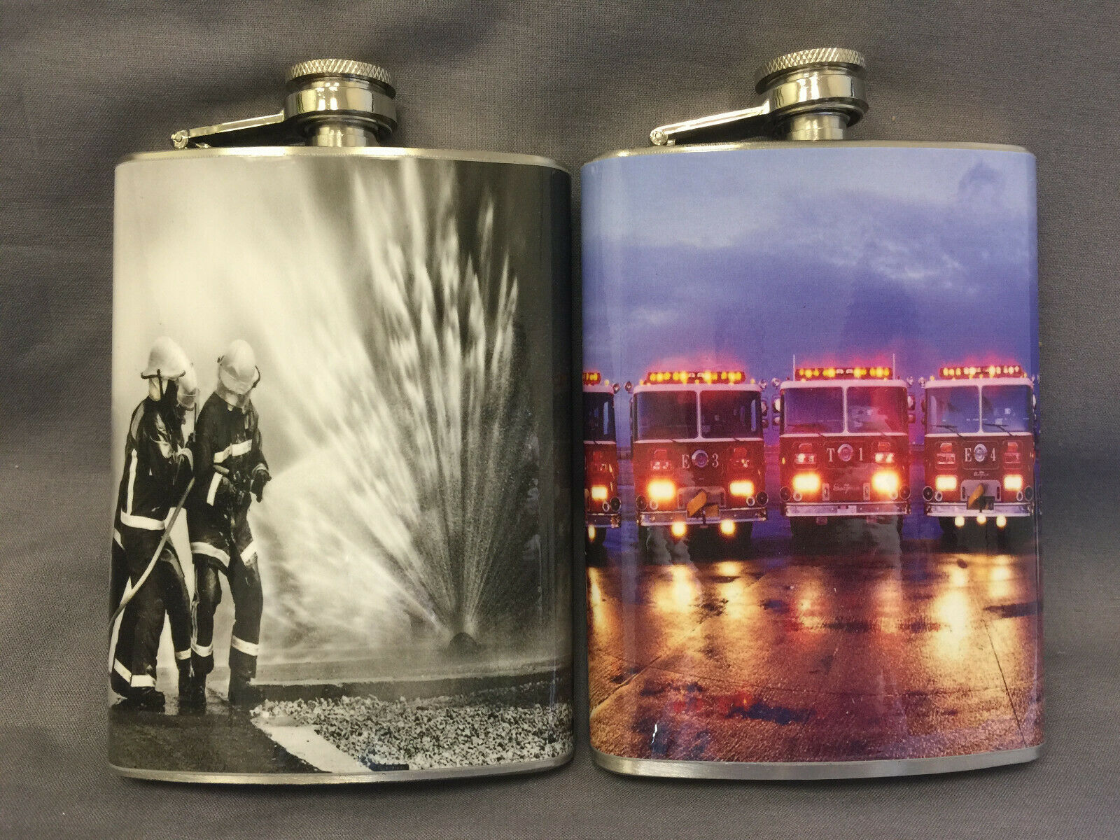 Set of 2 Firefighters D 3 & D 7 Flasks 8oz Stainless Steel Drinking Whiskey