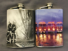 Set of 2 Firefighters D 3 & D 7 Flasks 8oz Stainless Steel Drinking Whiskey - $13.81