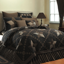 3-pc Farmhouse Star King Quilt Set - Black, Dark Creme & Tan - Vhc Brands