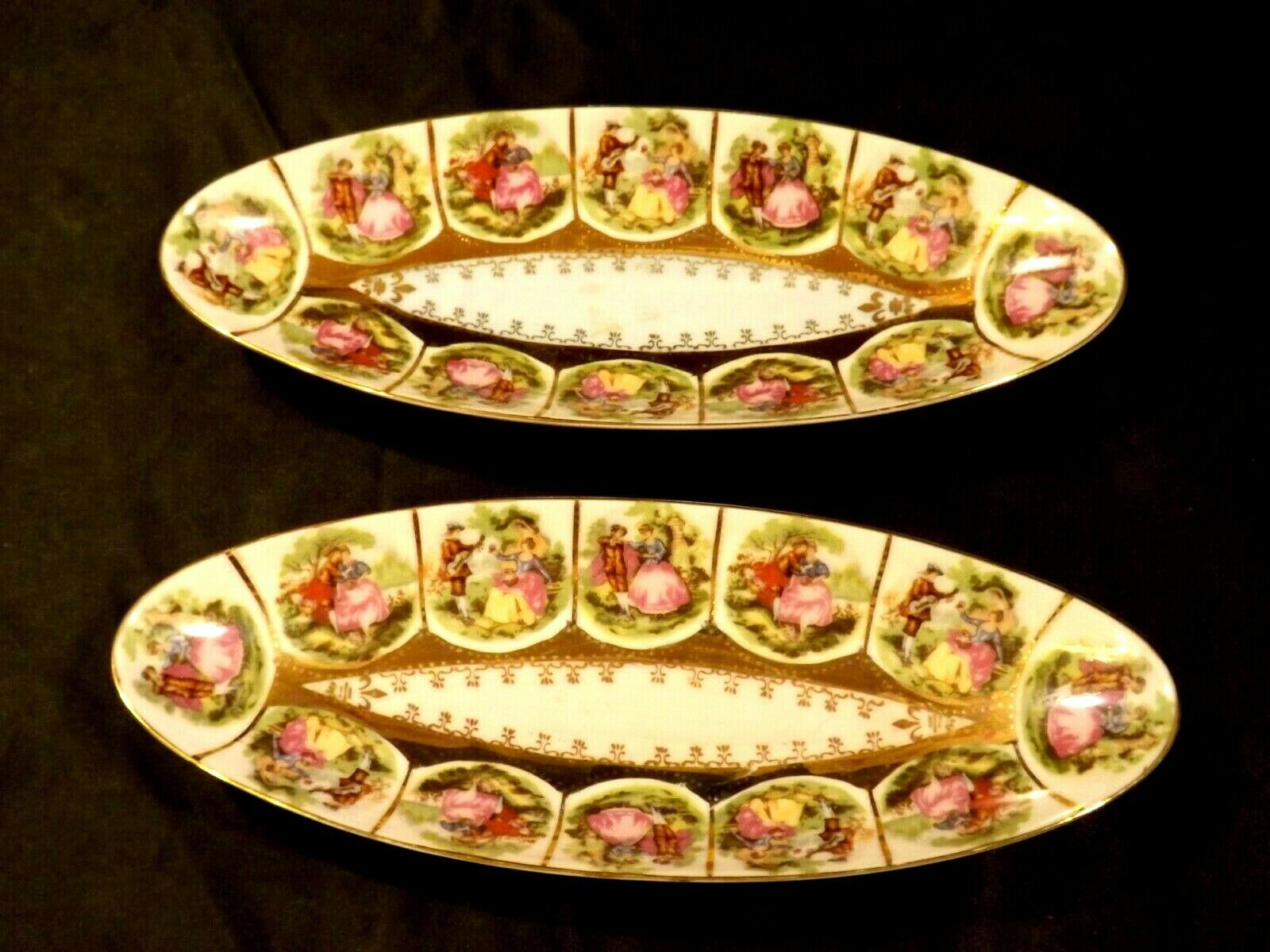 Pair of Decorative Oval Trays with 12 Beautiful Pictures of Couples Courting
